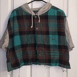 Cropped Flannel Tee
